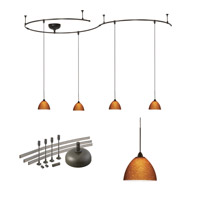 WAC Lighting Solorail 4 Light LM Rail Pendant Kit in Dark Bronze with Amber Glass LM-K541-AM/DB