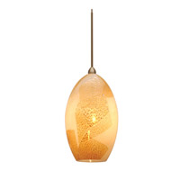 WAC Lighting Moonstone Monopoint Pendant With Canopy Mount in Brushed Nickel and Opaline Shade MP-631-OP/BN