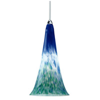 European LED 5 inch Chrome Pendant Ceiling Light in Blue/Green, Canopy Mount MP