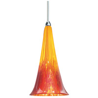 European LED 5 inch Chrome Pendant Ceiling Light in Yellow/Red (European), Canopy Mount MP