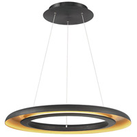 Omega LED 28 inch Black Gold Ribbed Pendant Ceiling Light