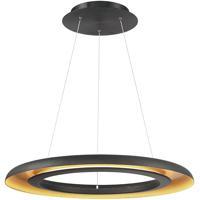 WAC Lighting PD-21828-BK/GR Omega LED 28 inch Black Gold Ribbed Pendant Ceiling Light