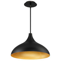 Copa LED 10 inch Black Gold Ribbed Outdoor Pendant