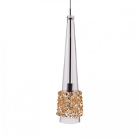 Eternity Jewelry LED 5 inch Chrome Pendant Ceiling Light in Champagne Diamond, Quick Connect