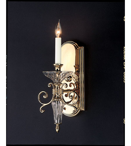 Waterford Crystal Wall Sconces : Waterford Crystal Polished Brass Carina Single Arm Sconce 106-986-14-01