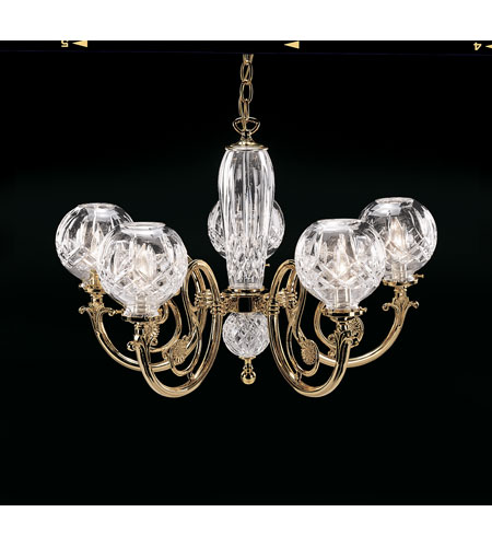 Waterford Crystal Solid Brass Arms and Fittings Lismore Five Arm Chandelier 950-000-54-11 photo