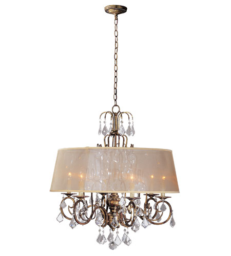 World Import Designs 1946-90 Belle Marie 6 Light 31 inch Antique Gold Chandelier Ceiling Light photo