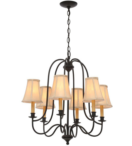 World Import Designs 3746-34 Brondy 6 Light 25 inch Aged Ebony Chandelier Ceiling Light photo