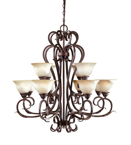 World Import Designs Olympus Tradition 12 Light Chandelier in Crackled Bronze with Silver 2621-24 photo