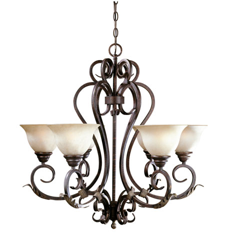 World Import Designs Olympus Tradition 6 Light Chandelier in Crackled Bronze with Silver 2624-24 photo