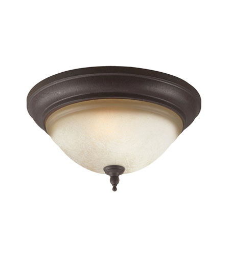 World Import Designs Fluorescent 2 Light Flush Mount in Crackled Bronze with Silver 2640-24 photo