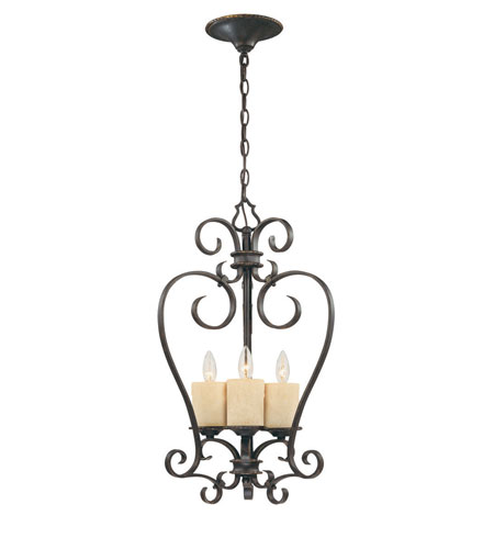 World Import Designs Stafford Spring 3 Light Foyer in Dark Antique Bronze 5953-97 photo