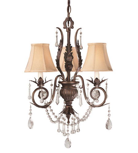 World Import Designs Berkeley Square 3 Light Chandelier in Weathered Bronze 750-62 photo
