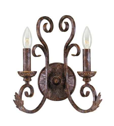 World Import Designs Medici 2 Light Wall Sconce in Oxide Bronze 81082-58 photo