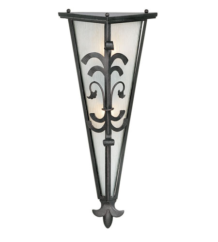 World Import Designs Bail 2 Light Outdoor Wall Lantern in Wrought Iron 9031-99 photo