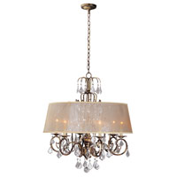 World Import Designs Belle Marie 6 Light Chandelier in Anitque Gold 1946-90