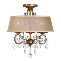 World Import Designs Belle Marie 3 Light Flush Mount in Anitque Gold 1973-90