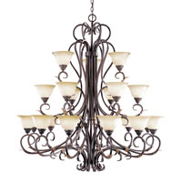 World Import Designs Olympus Tradition 21 Light Chandelier in Crackled Bronze with Silver 2620-24