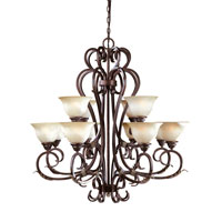 World Import Designs Olympus Tradition 12 Light Chandelier in Crackled Bronze with Silver 2621-24 photo thumbnail