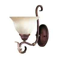 Olympus Tradition Bath 1 Light 7 inch Crackled Bronze with Silver Wall Sconce Wall Light