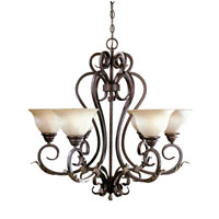 World Import Designs Olympus Tradition 6 Light Chandelier in Crackled Bronze with Silver 2624-24