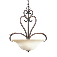Olympus Tradition 4 Light 27 inch Crackled Bronze with Silver Pendant Ceiling Light
