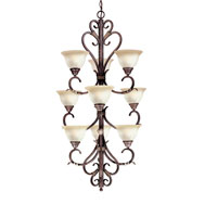 World Import Designs Olympus Tradition 9 Light Chandelier in Crackled Bronze with Silver 2629-24