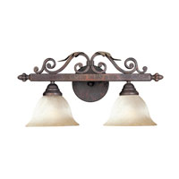 Olympus Tradition Bath 2 Light 20 inch Crackled Bronze with Silver Bath Light Wall Light
