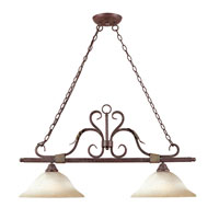 Olympus Tradition 2 Light 19 inch Crackled Bronze with Silver Island Light Ceiling Light