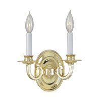 World Import Designs Signature 2 Light Wall Sconce in Polished Brass 3202-01
