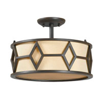 Decatur 3 Light 15 inch Rust Semi-Flush Mount Ceiling Light