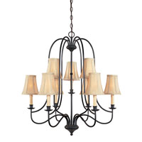 World Import Designs Brondy 9 Light Chandelier in Aged Ebony 3749-34
