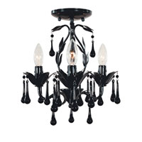 Bijoux 3 Light 14 inch Glossy Black Semi-Flush Mount Ceiling Light