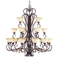 Olympus Tradition 21 Light 22 inch Crackled Bronze/Silver Chandelier Ceiling Light