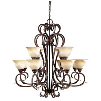 Olympus Tradition 12 Light 16 inch Crackled Bronze/Silver Chandelier Ceiling Light