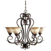 Olympus Tradition 6 Light 11 inch Crackled Bronze Chandelier Ceiling Light