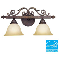 Olympus Tradition 2 Light 22 inch Crackled Bronze/Silver Bath Bar Wall Light
