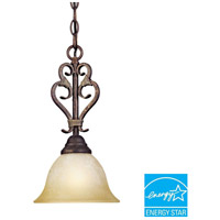 Olympus Tradition 1 Light 9 inch Crackled Bronze/Silver Mini Pendant Ceiling Light