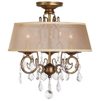 Belle Marie 3 Light 18 inch Antique Gold Flush Mount Chandelier Ceiling Light