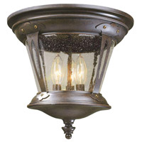 North Hampton 3 Light 12 inch Bronze Outdoor Flush Mount