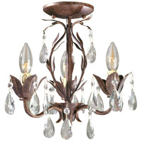 Bijoux 3 Light 13 inch Weathered Bronze Semi Flush Mount Ceiling Light, Convertible To Chandelier