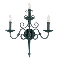 World Import Designs Auburndale 3 Light Wall Sconce in Wrought Iron 5363-99