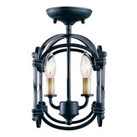 Hastings 2 Light 10 inch Rust Semi-Flush Lantern Ceiling Light