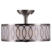 Venn 2 Light 15 inch Brushed Nickel Semi Flush Mount Ceiling Light