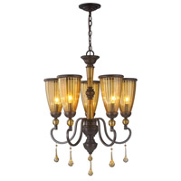 Amber Marie 5 Light 22 inch Oil Rubbed Bronze Chandelier Ceiling Light, Crystal Adorned