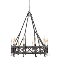World Import Designs Chaumont 12 Light Chandelier in Textured Rust 80019-85
