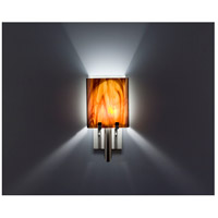WPT Design DESSY1/8-D-RB/WH Dessy One / 8 1 Light 14 inch Stainless Steel ADA Wall Sconce Wall Light in Root Beer White Double Glass