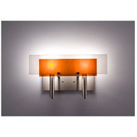 WPT Design DESSY2-AM/FLWH Dessy Two 2 Light 19 inch Stainless Steel ADA Wall Sconce Wall Light in Amber White