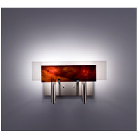 WPT Design DESSY2-RB/FLWH Dessy Two 2 Light 19 inch Stainless Steel ADA Wall Sconce Wall Light in Root Beer White
