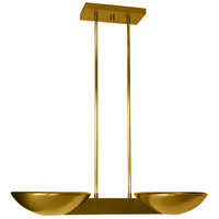 Pascal 2 Light 10 inch Brushed Brass Pendant Ceiling Light
